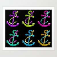 anchors Art Prints featuring Anchors by foreverwars