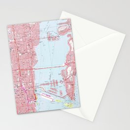 Vintage Map of Miami Florida (1962) Stationery Cards