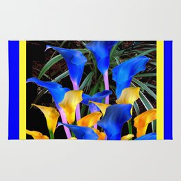 BLUE-BLACK MODERN ABSTRACT BLUE & GOLD CALLA LILIES Rug