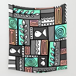 Fishes Seaweeds and Shells - Gray and Aqua Wall Tapestry