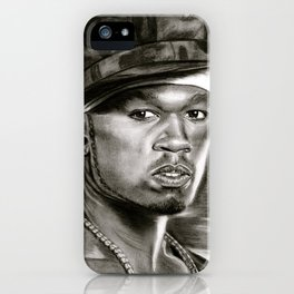 50 Cent in Black and White iPhone Case