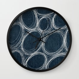 White Oval Scribbles in Dark Indigo Wall Clock