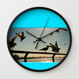 Americana - Pier 17 - Seagulls - Manhatten - NYC Wall Clock