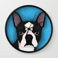 terrier Wall Clocks featuring Boston terrier by Nir P