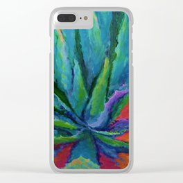 IMPRESSIONIST TURQUOISE BLUE DESERT AGAVE CACTI Clear iPhone Case