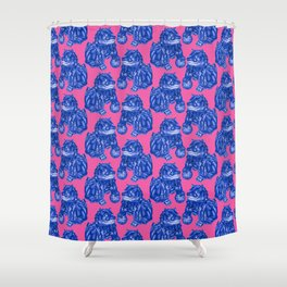 Chinese Guardian Lion Statues in Pottery Blue + Pink Shower Curtain