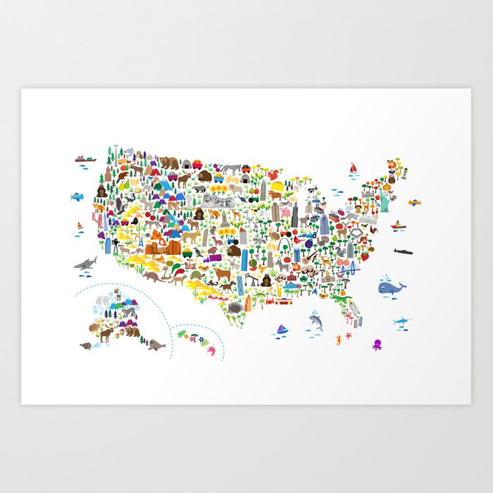 Animal Map of United States for children and kids Kunstdrucke