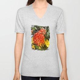 Orange Spring Flowers and Yellow Daffodils Unisex V-Neck