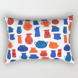 Pottery in Blue and Red by Amanda Laurel Atkins Rectangular Pillow