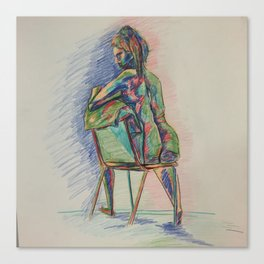 Colored Nude in Chair Canvas Print