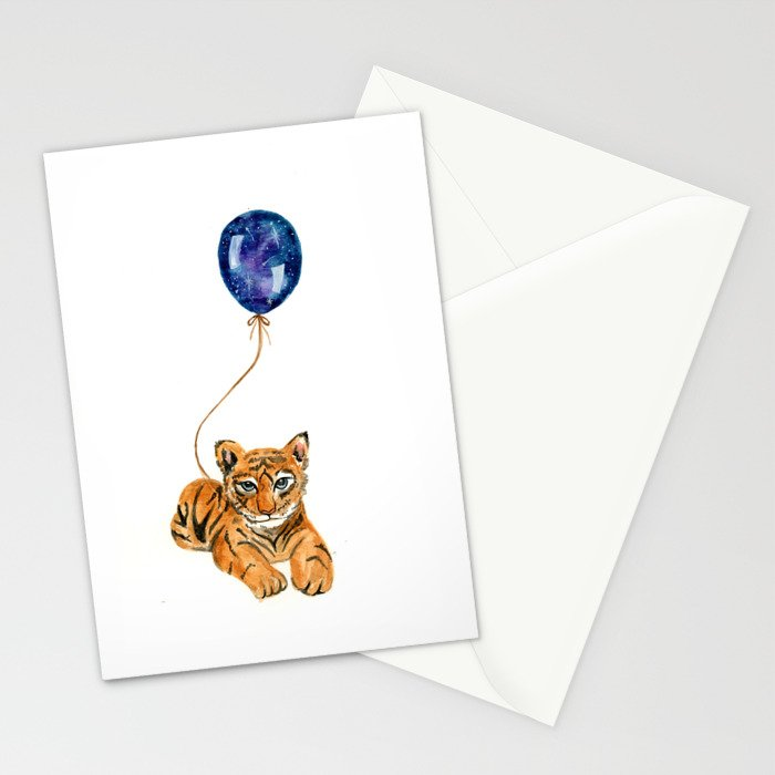 flying baby tiger watercolor painting  Stationery Cards