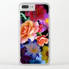 Colorful Fractal Flowers Clear iPhone Case