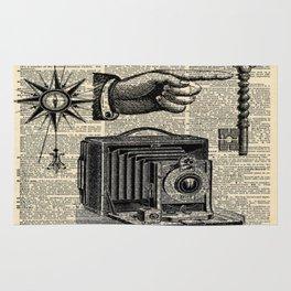 nautical compass dictionary print steampunk skeleton keys antique camera Rug