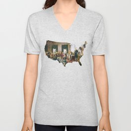 USA MAP The Signing of the Constitution of the United States Unisex V-Neck