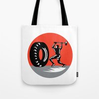 workout Tote Bags featuring Tire Sledgehammer Workout Woodcut by patrimonio