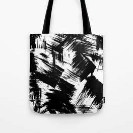 Modern black white watercolor brushstrokes pattern Tote Bag