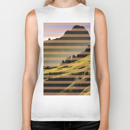 Landscape pattern (with pink touches) Biker Tank