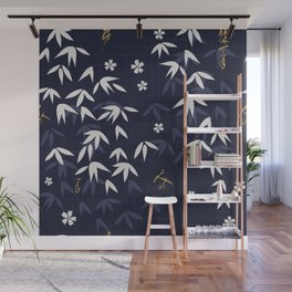 White bamboo leaves Japanese pattern Wall Mural