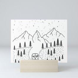 Minimal Camping Rv Hippie Van Camper Mountain Wild Outdoor Mini Art Print