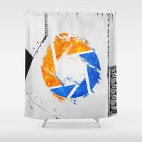 aperture Shower Curtains featuring Aperture Vandal by Toronto Sol
