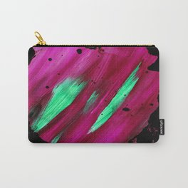 Magenta Abstract Heart Splatter Painting Magenta Red Crimson Green Black Carry-All Pouch