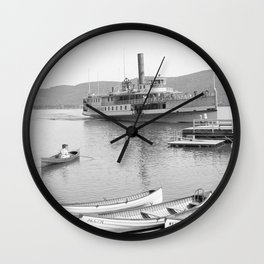 The Sagamore Lands at Roger's Slide Boathouse Wall Clock