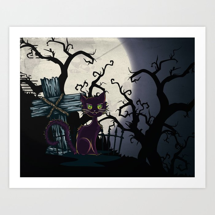 Vintage Halloween Cemetery Cat Art Print by simonegatterwe