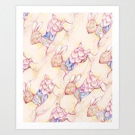 Rabbit pattern Art Print