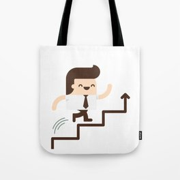 Happy Employee Climbing On The Corporate Ladder Tote Bag