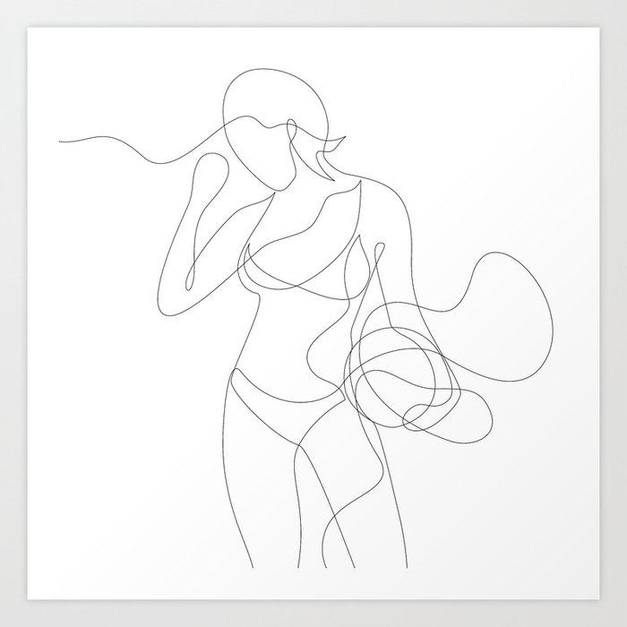 Woman with Basketball Art Print