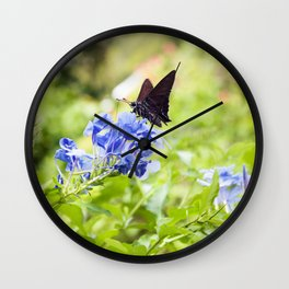 Butterfly on a Purple Flower Photography Print Wall Clock