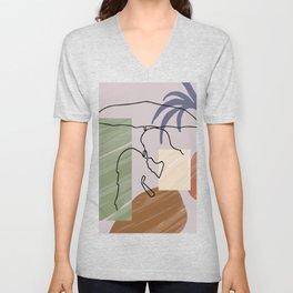 Original Romantic Minimalist Couple Art,  One Line Drawing Print, Anniversary gift, Modern Wall Art Unisex V-Neck