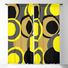 Geometrics, composition of circles in black, gray, yellow and amber Blackout Curtain