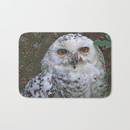 Dream Creatures, Snowy Owl, DeepDream Bath Mat
