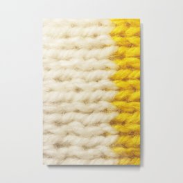 White Yellow Wool Knitting Texture Metal Print