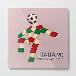 Vintage World Cup poster, Ciao, Italia 90 mascot, old football print Metal Print