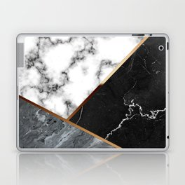 Elegant Silver Marble with Bronze Lining Laptop & iPad Skin