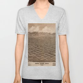 Map Of Salt Lake City 1875 Unisex V-Neck