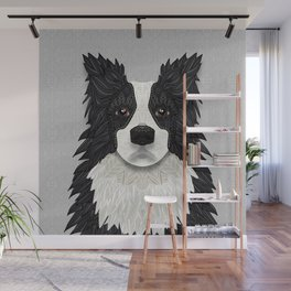 Black Border Collie Wall Mural