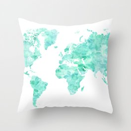 Teal aquamarine watercolor world map Throw Pillow