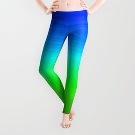 Blue Sky Green Grass Deconstructed (blue to green ombre gradient) Leggings