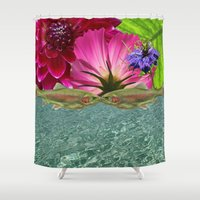 trout Shower Curtains featuring Kissing Trout with Water and Flower by spfineprints