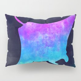 MANTA RAY IN SPACE // Animal Graphic Art // Watercolor Canvas Painting // Modern Minimal Cute Pillow Sham