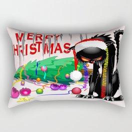 Evil Black Cat VS Christmas Tree Rectangular Pillow