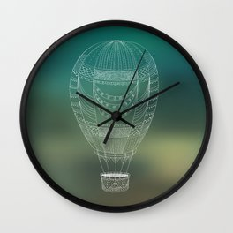 Hot air balloon line drawing Wall Clock