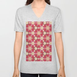 Pattern in Red and Creams Unisex V-Neck