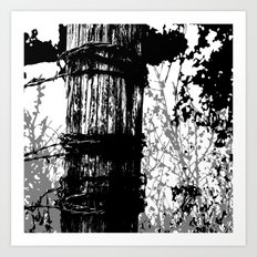 Barbed Wire Fence Post B/W Art Print