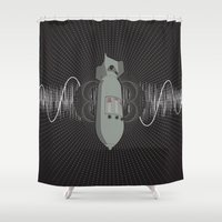 bass Shower Curtains featuring Bomb Bass by Manny Peters Art & Design