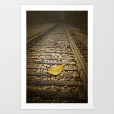 Fallen Yellow Autumn Leaf on the Railroad Tracks in Black Mountain North Carilina No.0452 Fine Art F Art Print