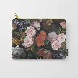 Antique Botanical Roses And Poppies Midnight Garden Carry-All Pouch